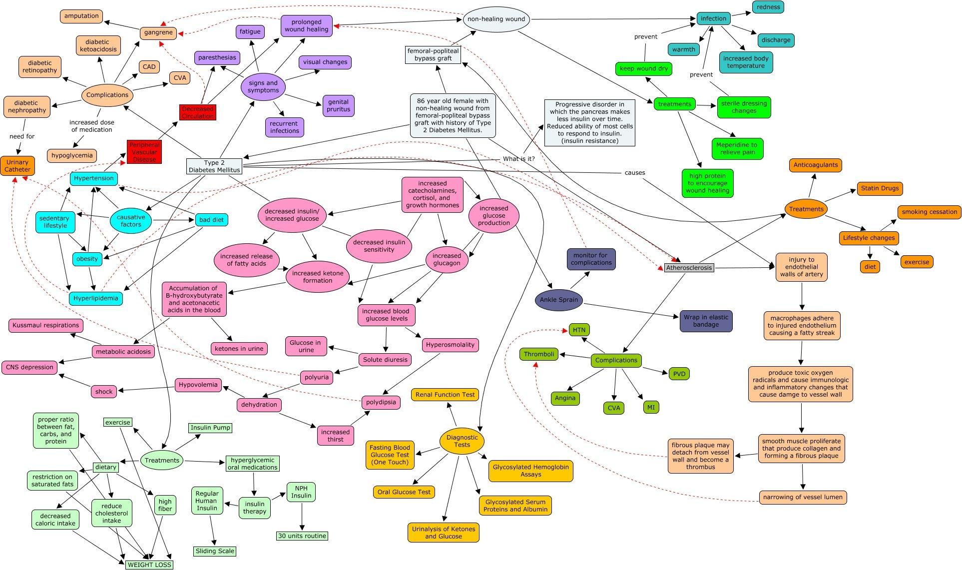 Diabetes Mellitus Type 2 Concept Map With Detail Nursing Programs