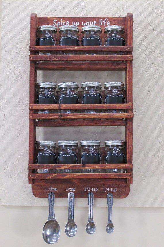12 Jar Spice Rack, Mason Jar Spice Rack, Spice Jar Rack, Hanging Spice Rack, Wood Spice Rack, Cottage Chic, Kitchen Storage, Spice Rack Wall, Spice Jar Set, Spice Jars, Spice Rack, Spice Holder [Measures] 17X10X3  [ DESCRIPTION ]  Keep your spices Fresh and Organized with this 12 jar spice rack.