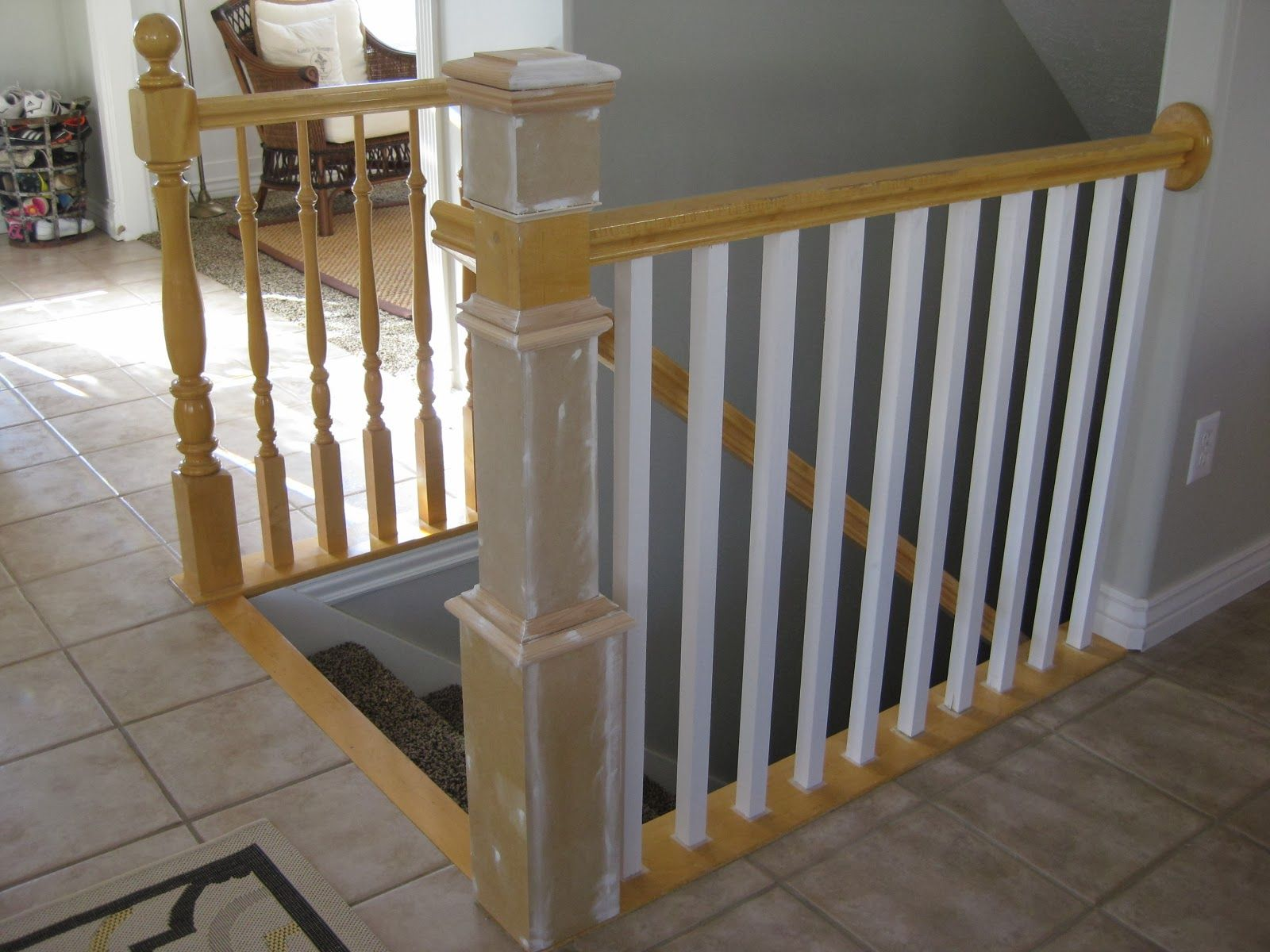 Replace Stair Banister Spindles And Newel Post Diy Tda