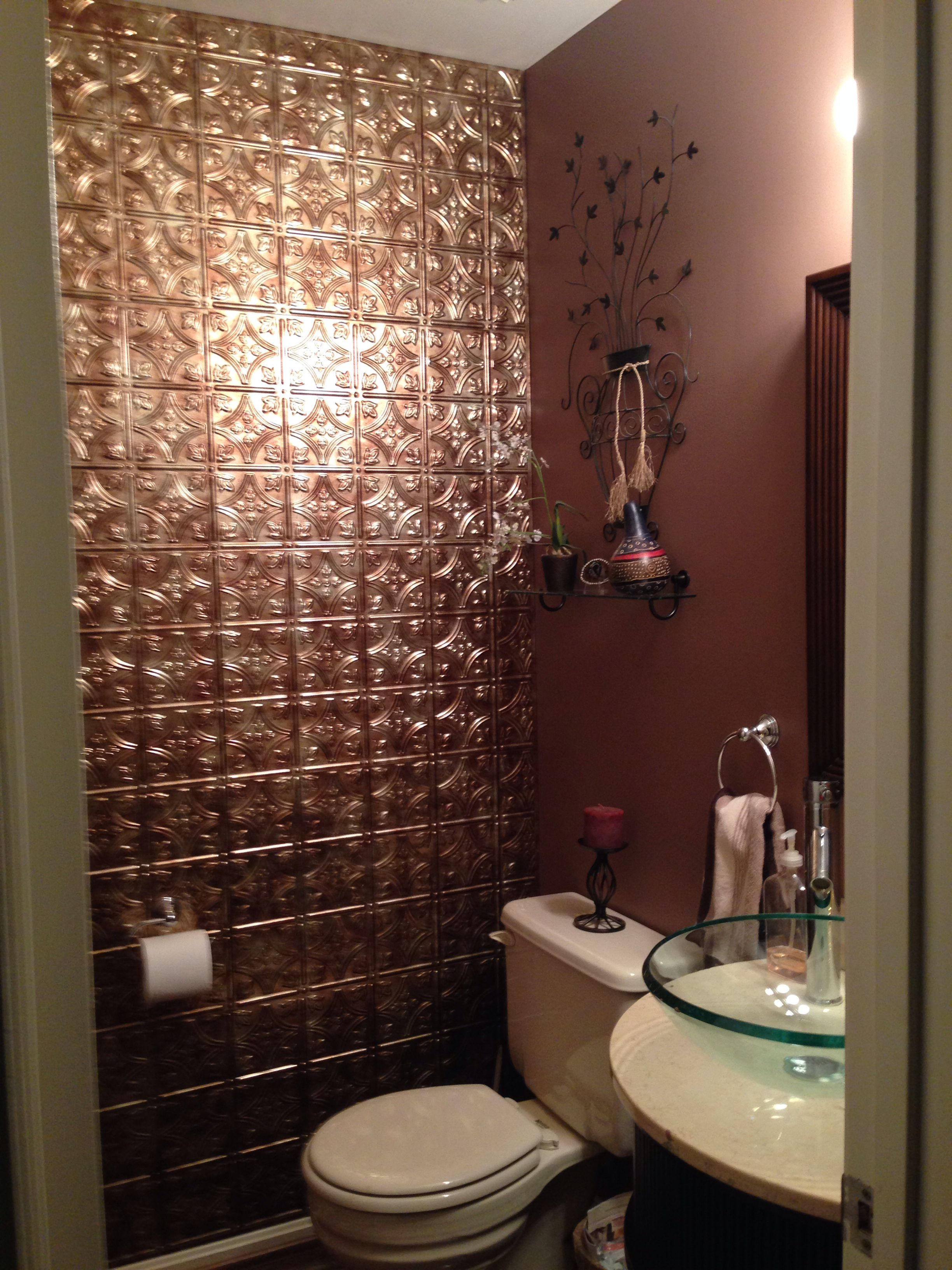 Tin Backsplash Tiles Used On Entire Wall As Accent Wall In
