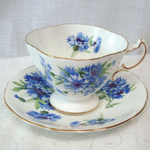 Vintage Tea Cup and Saucer Cornflower Hammersley & Co. Bone China Made in England
