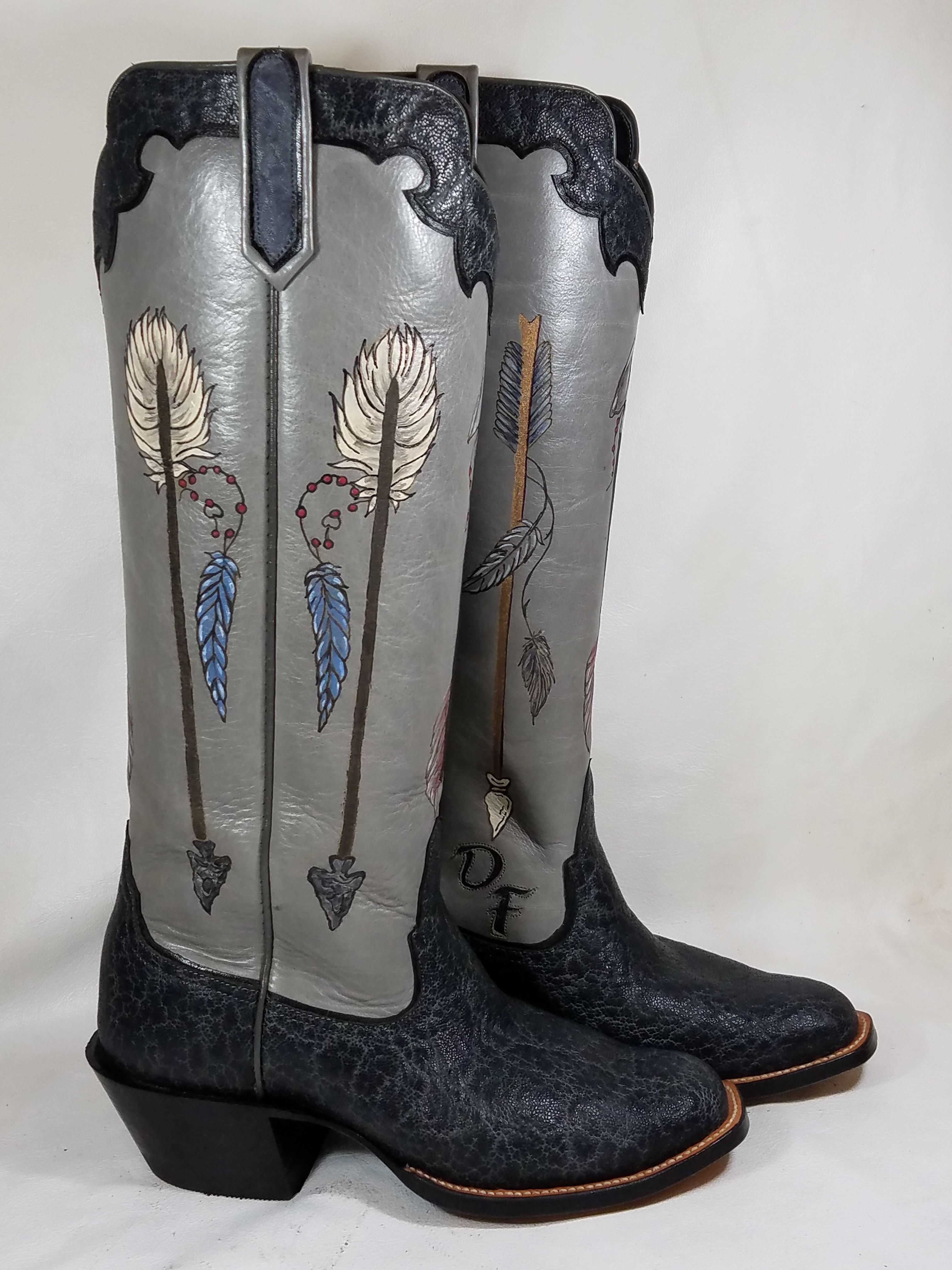 Arrow Though My Heart In 2020 Boots Leather Western Boots Custom Cowboy Boots