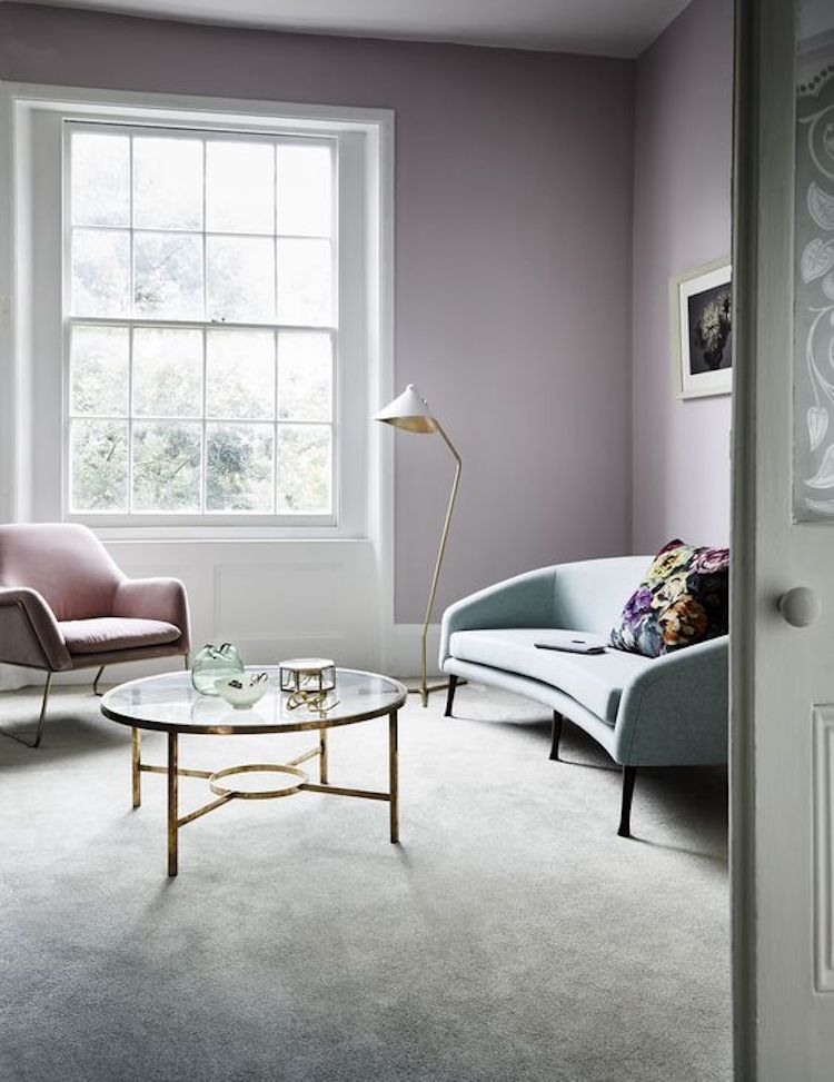 Pastel Trend Lavender Walls Combined With A Pale Blue Sofa And Soft Beige Carpet In 2020 Living Room Carpet Pastel Living Room Brown Living Room Decor #pastel #coloured #living #room