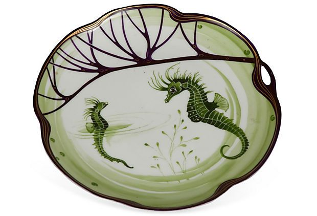 """Rare Art-Nouveau Fish Plate by Hermann Gradl for Nymphenburg, made from 1899-1970.  Commissioned for the Exposition Universelle in Paris.  A set of these plates is in the Victoria and Albert Museum, 9.5"""" Diameter, purple and green.  Sold for $169."""
