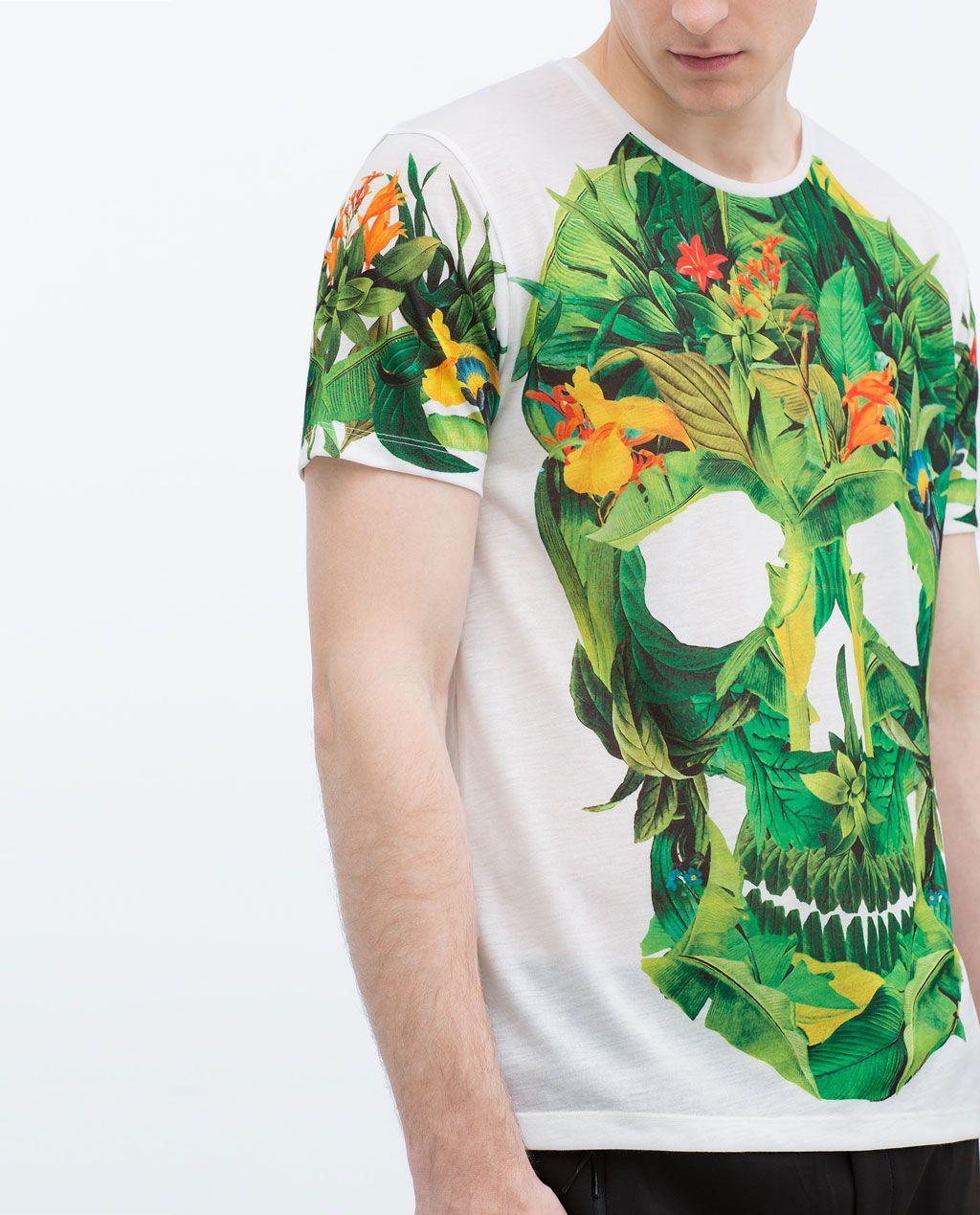 ZARA HOMBRE Camiseta calavera flores | Calaveras flores
