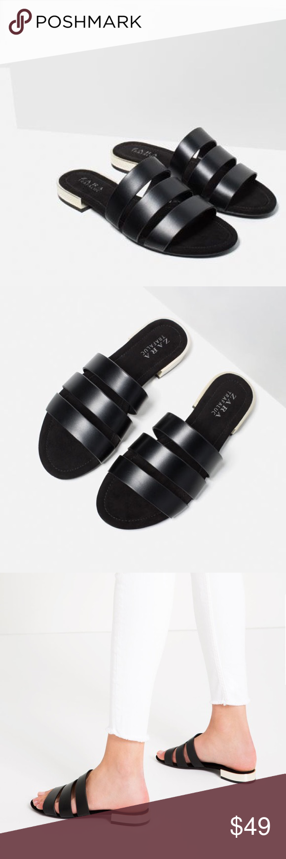 95ae9cb40613 Zara black flat sandal with metal heel Chic versatile slide sandals.. euro  size 41 Zara Shoes