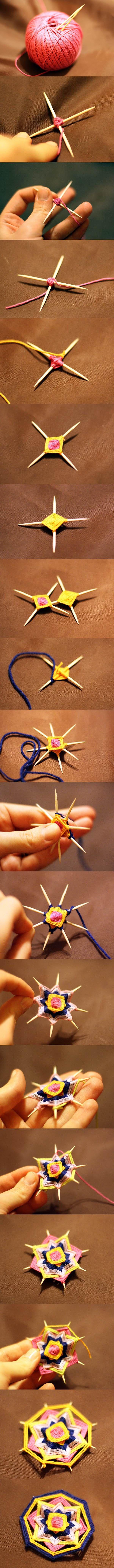 DIY Weave a Mandala Brooch with Toothpicks | iCreativeIdeas.com Like Us on Facebook ==> https://www.facebook.com/icreativeideas