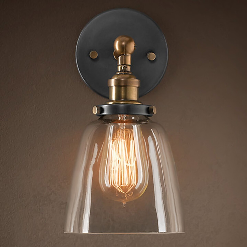 48.29$  Watch now - http://alixob.shopchina.info/1/go.php?t=32815729741 - American Vintage Industrial Edison Wall lamps Clear Glass Wall Sconce Wall Light Fixtures E27 Bedside Home Decoration Lighting  #magazine