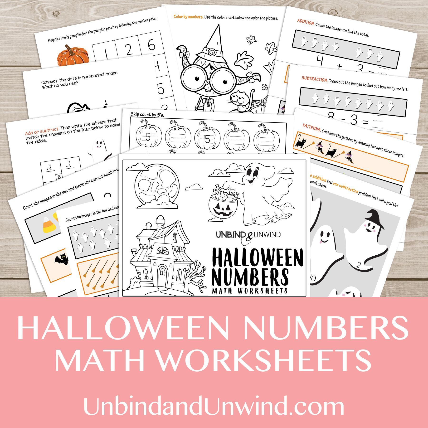 Halloween Numbers Math Worksheets
