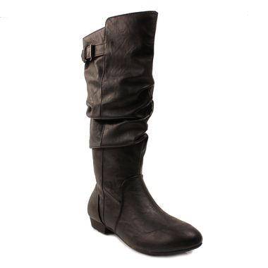 d9cb2481234 Women s Raven Black PU Tall Slouch Boot by Lower East Side ...