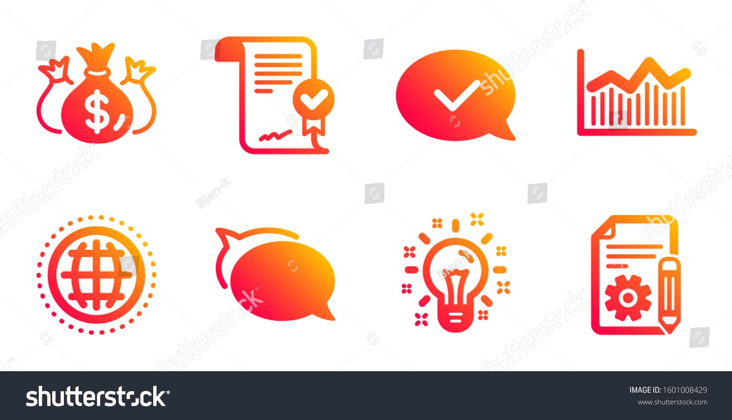 Globe Talk Bubble And Approved Message Line Icons Set Approved Agreement Money Diagram And Check Investment Sign In 2020 Talk Bubble Investing Dave Ramsey Investing