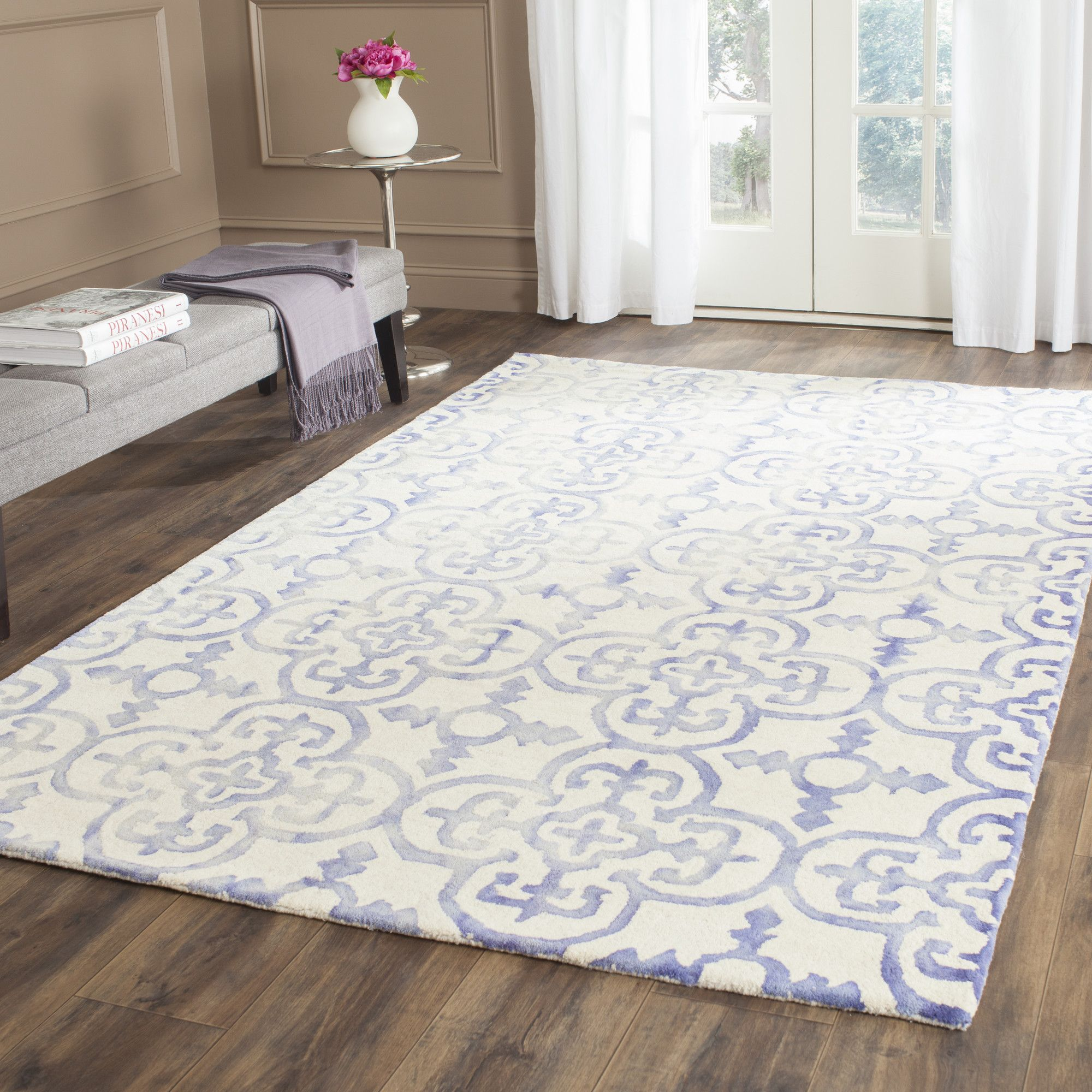 Carter Hand Tufted Ivory Blue Area Rug Light Sofawool