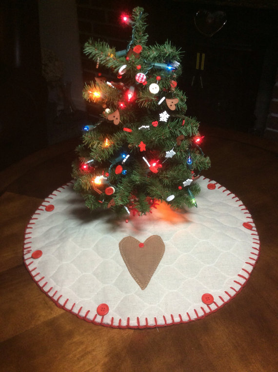 Primitive Gingerbread Heart Christmas Tree skirt w Free Ship to