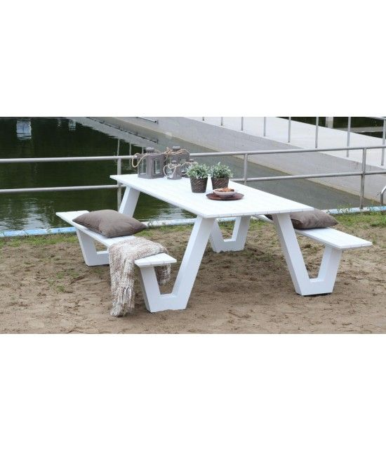 Picknicktisch Aludesign City 220 Cm Weiss Hergestellt Aus Aluminium Picknicktisch Tisch Gartenmobel