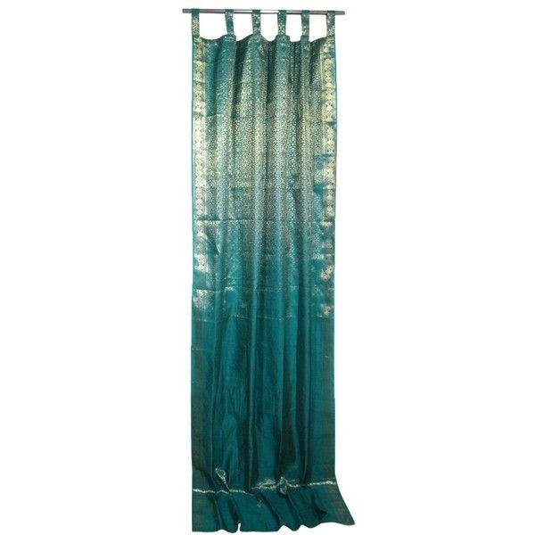 Mogul Indie Style Decor Teal Blue Gold Brocade Indian Sari Curtains