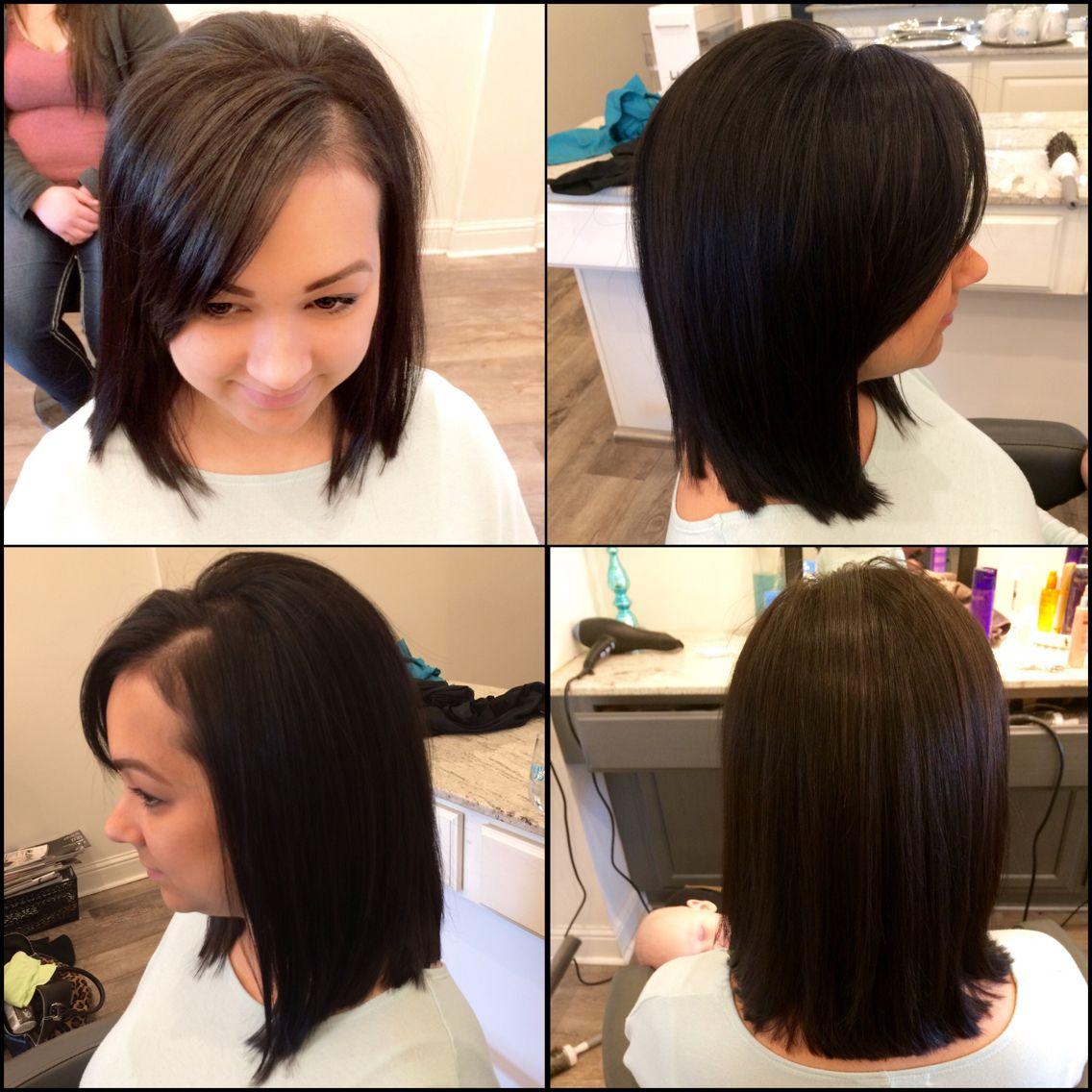lob. long bob. swoop bang. long layers. medium to short hair cut