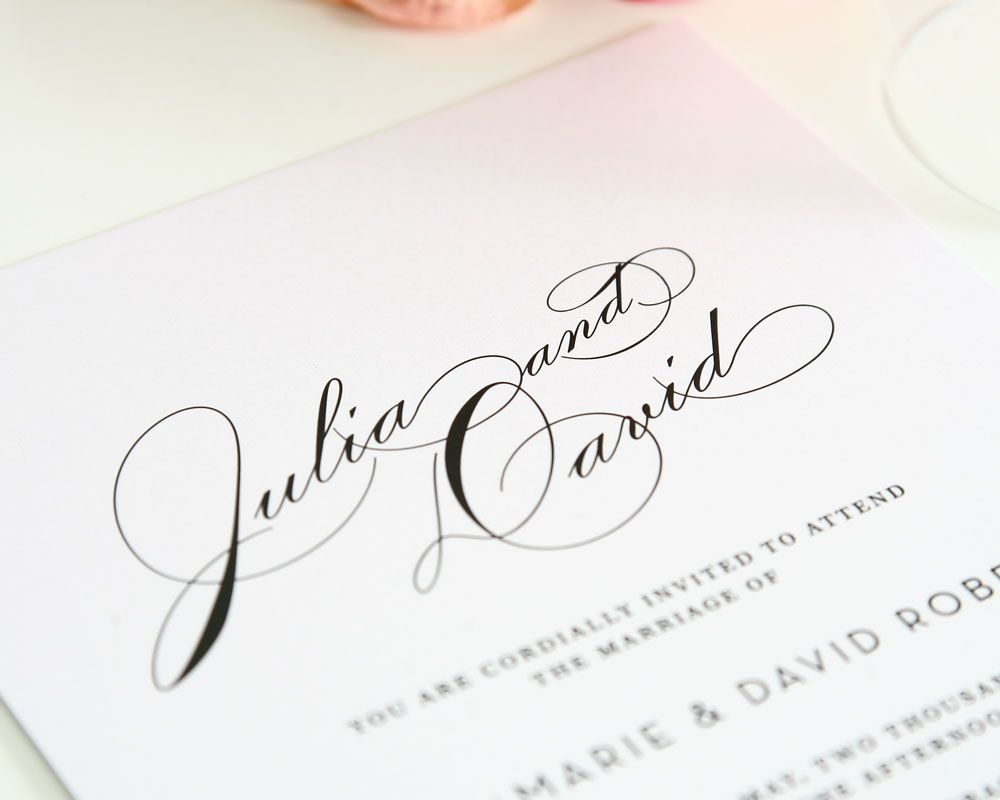 Simple And Elegant Wedding Invitation With Large Names Love