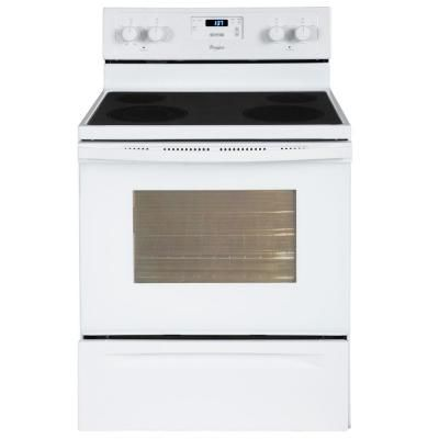 Whirlpool 4 8 Cu Ft Electric Range In White Wfe320m0aw At The Home Depot Self Cleaning Ovens Electric Range Cleaning