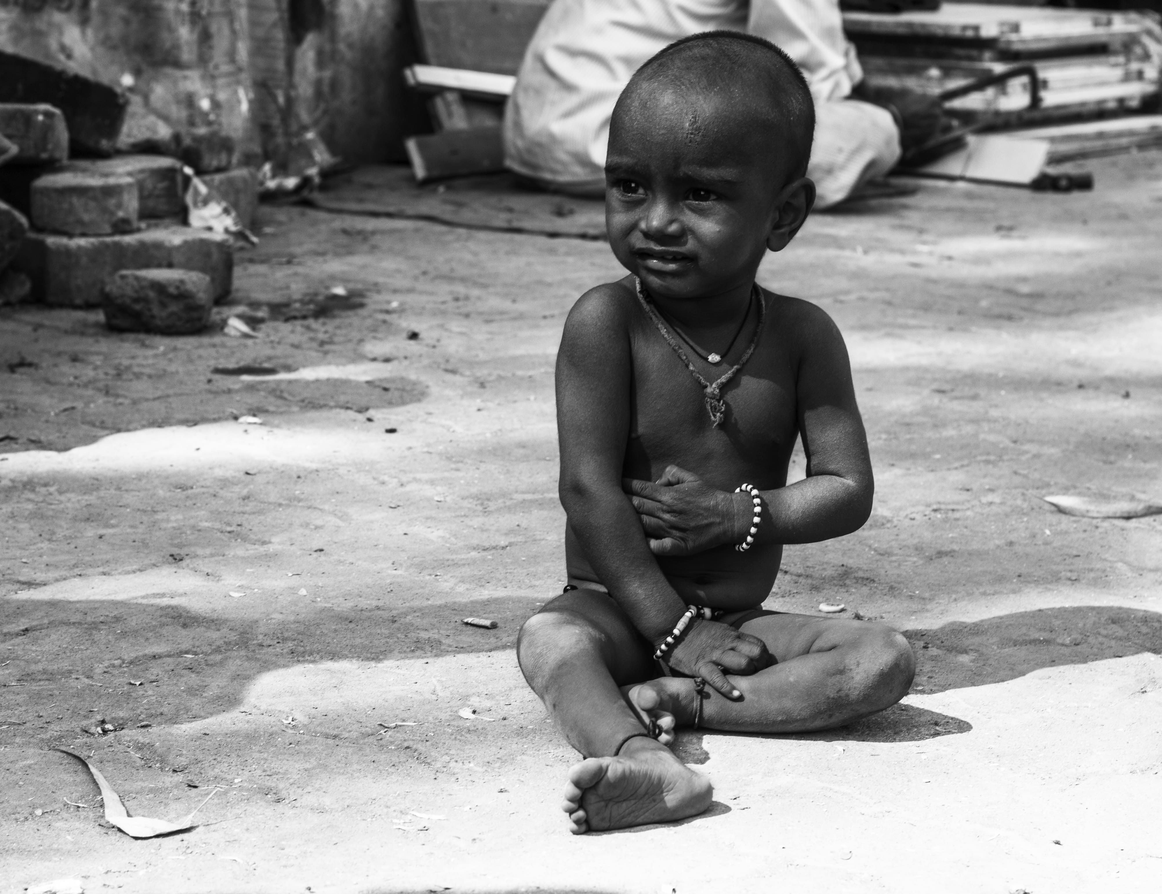 Indian baby black and white photograph credit diploma in photography student sayan debnath