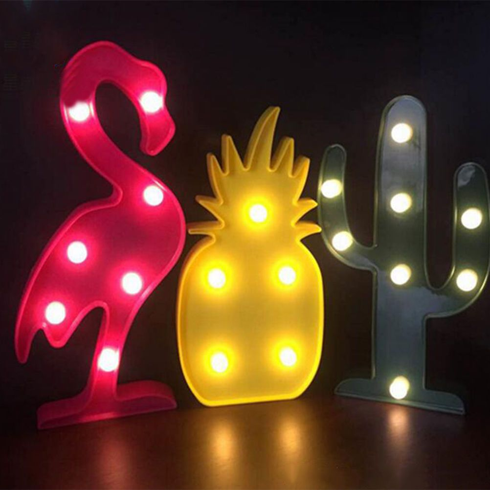 Decorative Flamingo Lamp Pineapple Table Lamp Cactus Nightlight Marquee Led Night Light Home Christmas Party Decor Neon Lamp Light Decorations Lamp