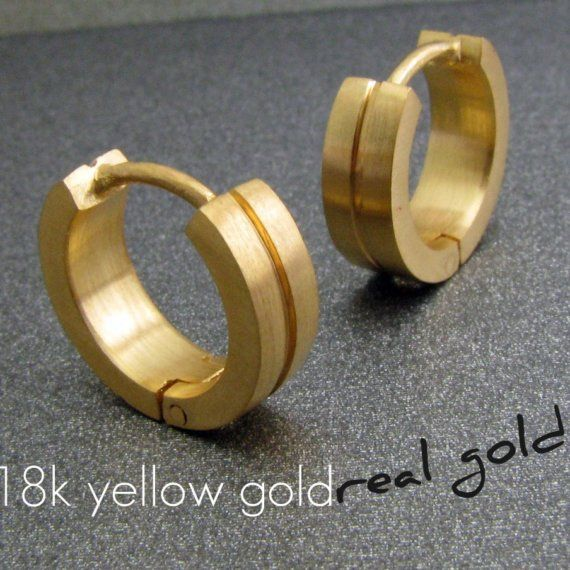 18k Real Solid Yellow Gold Mens Earrings Hoop Huggie For Guys Halfhalf Design Medium Size E001 My