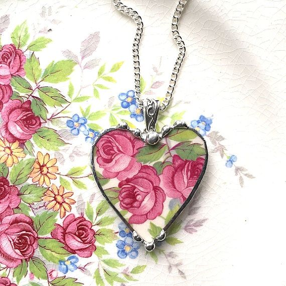 Broken china jewelry heart pendant necklace antique pink