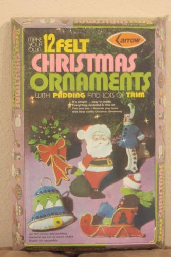 Vintage 1973 Arrow 12 Felt Christmas Ornaments Kit Santa Reindeer Snowman