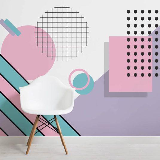 pastel-modern-shapes-memphis-square-wall-mural #memphisdesign