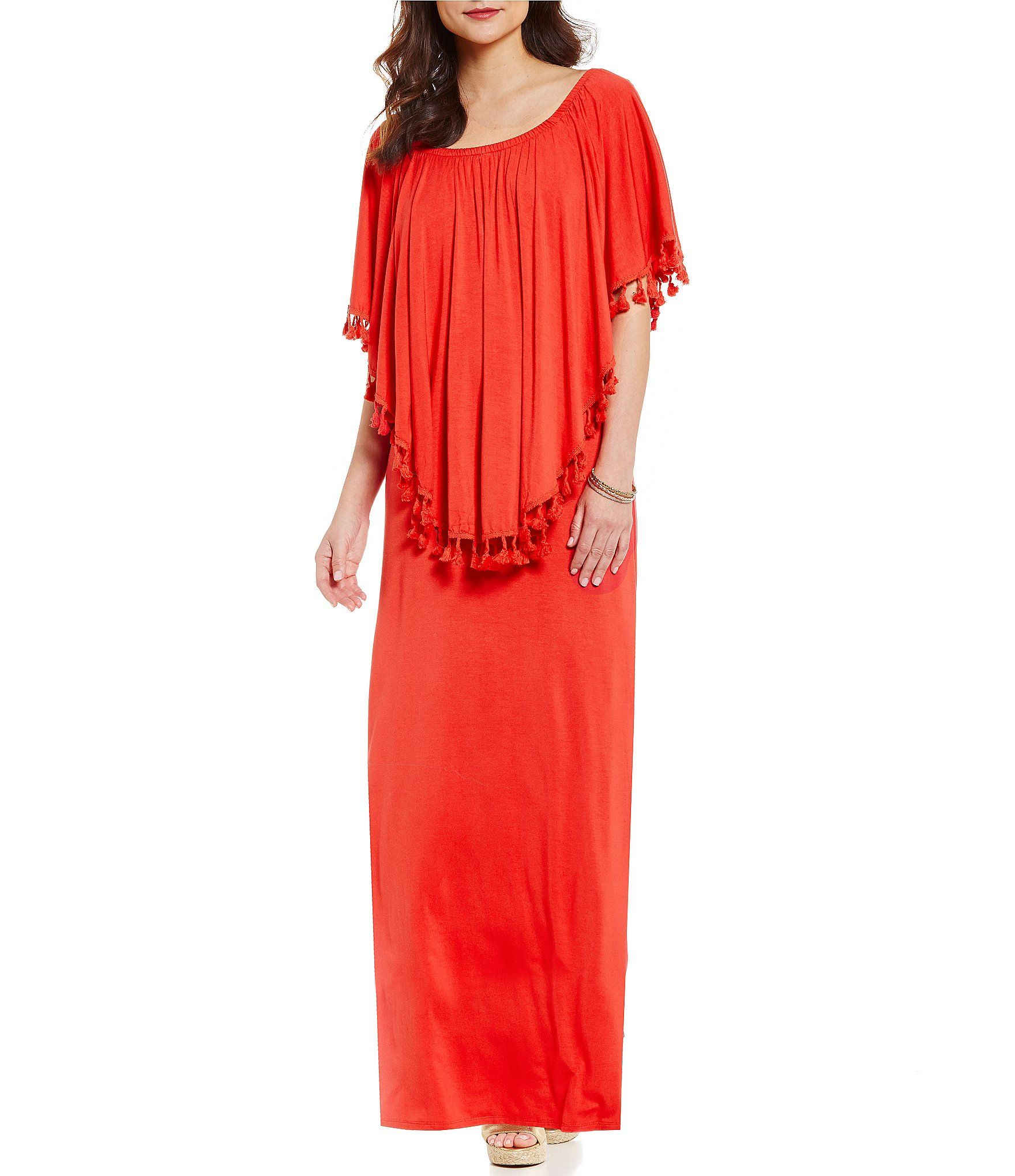 Chelsea And Theodore Popover Off The Shoulder Pompom Detail Maxi