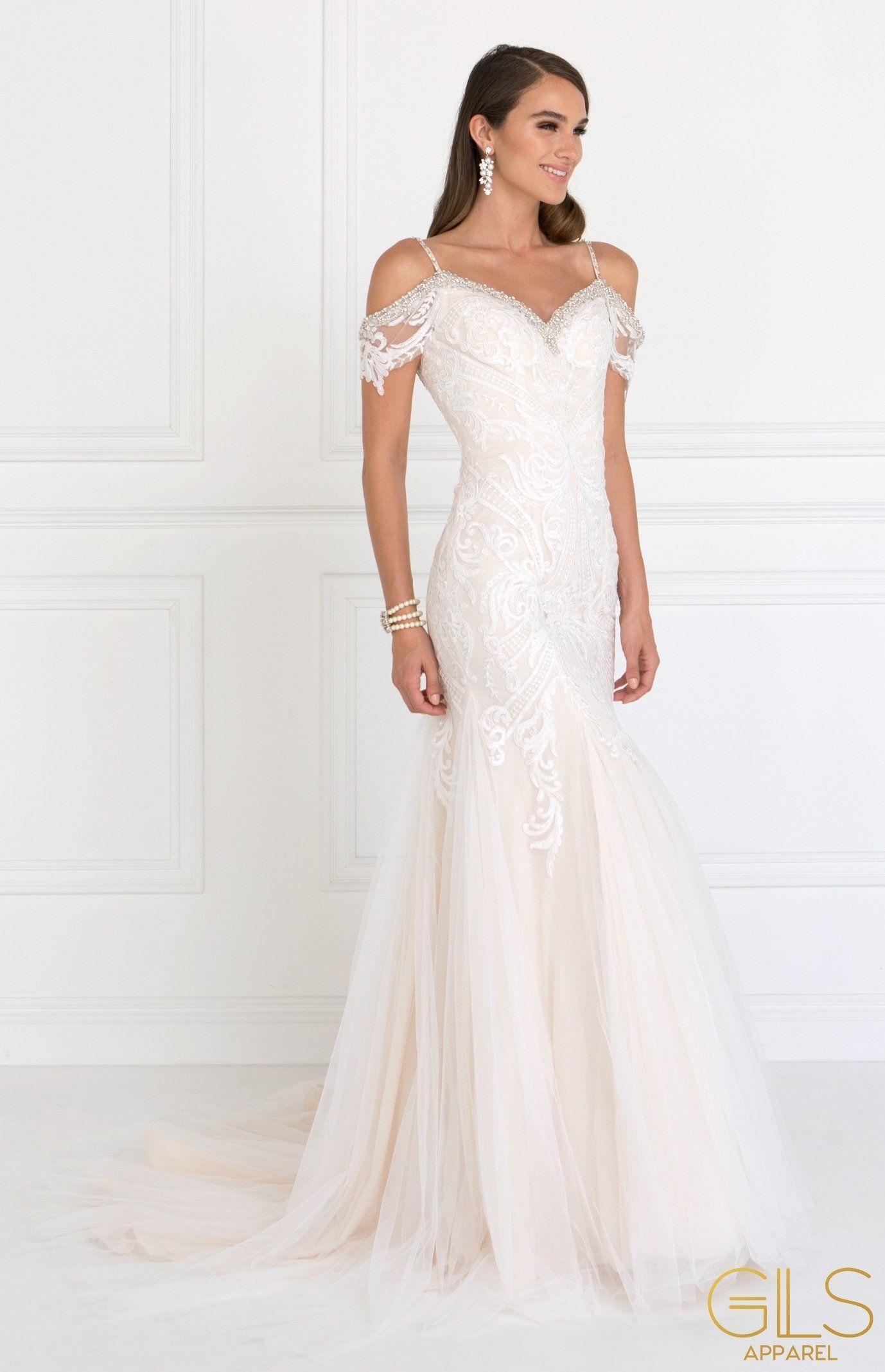 Long Cold Shoulder Ivory Wedding Dress by Elizabeth K in