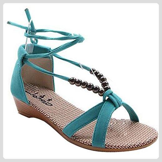 Lace Minetom Up Damen Sandaletten Sandalen Keilabsatz Flache Perlen zjLqSMVUGp