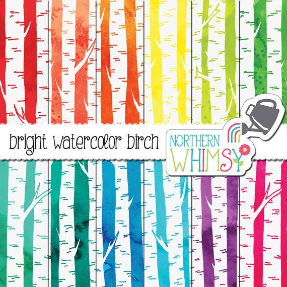 Watercolor Birch Digital Paper - bright scrapbook paper with hand drawn birch tree patterns on watercolor backgrounds - commercial use