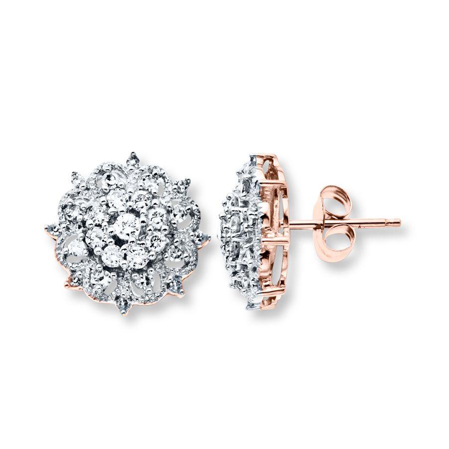 Diamond Earrings 1 2 Ct Tw Round Cut 10k Rose Gold