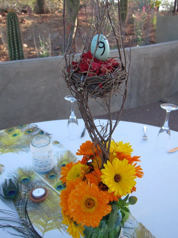 Tree branch centerpieces with Robbin's egg table by earthywedding, $8.00