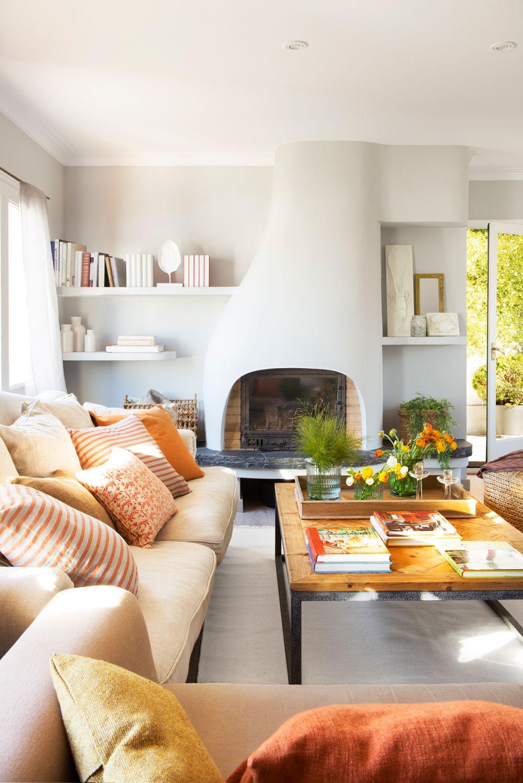 Cojines y flores en naranja home decor i love it - Cojines de salon ...