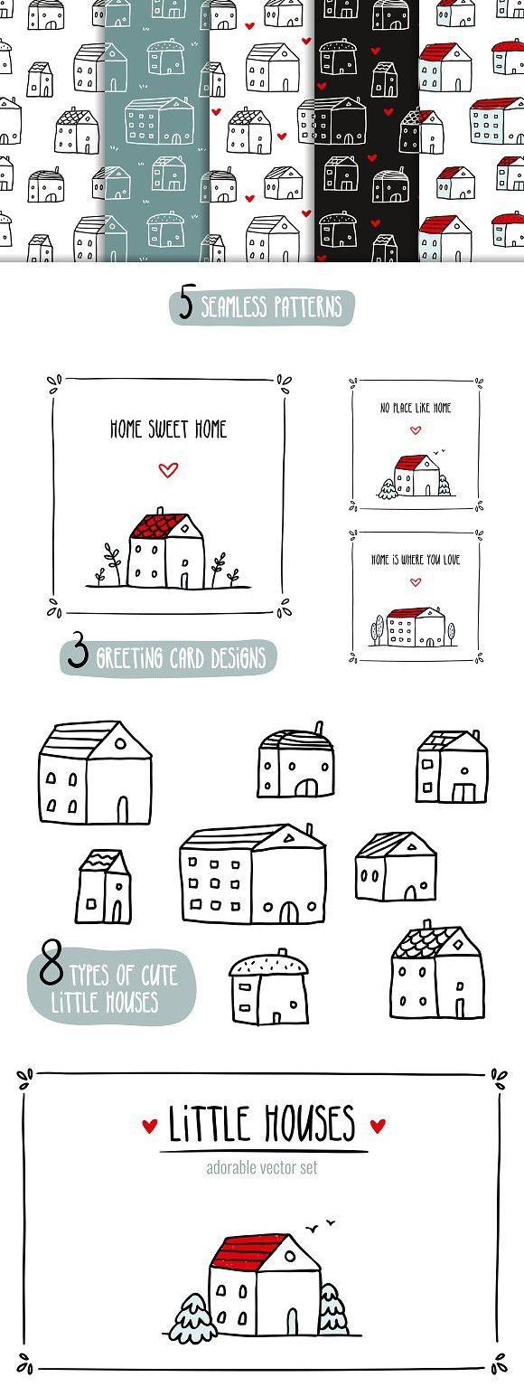 Little Houses Vector Set Outline Templates Pinterest House