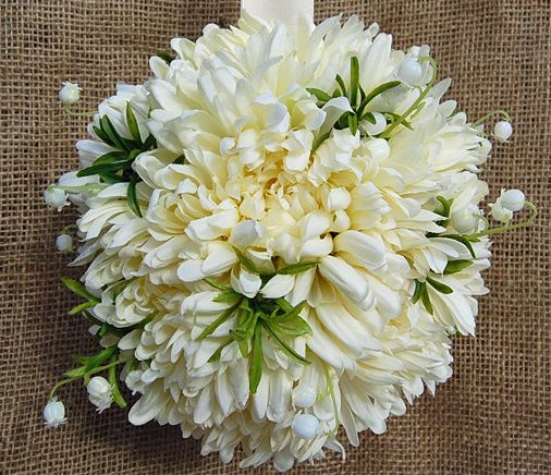 Wedding Flowers November: White Chrysanthemum And Lily Of The Valley Ball