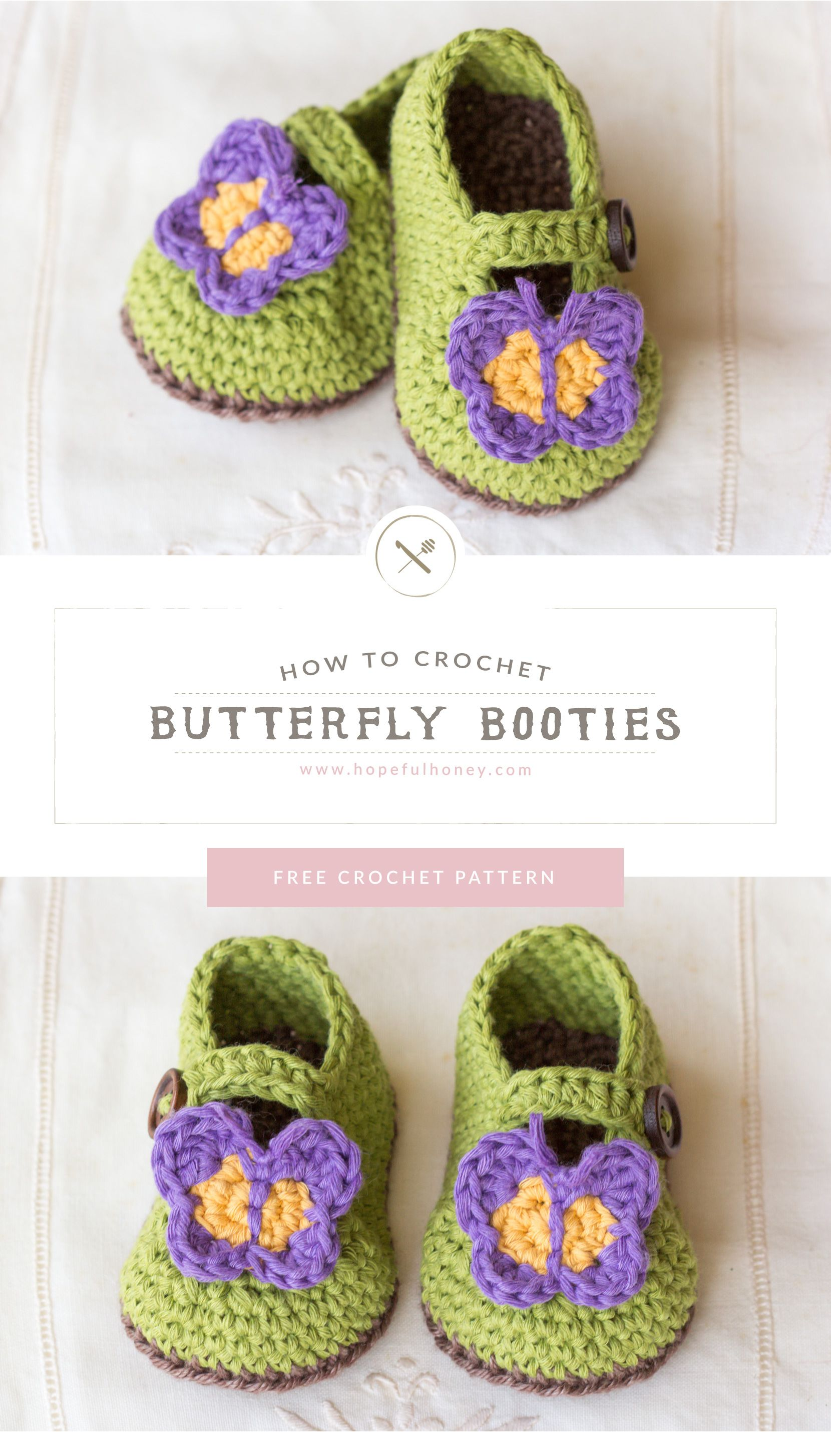 Butterfly Garden Baby Booties Crochet Pattern | BABY/ CHILD KNITS ...