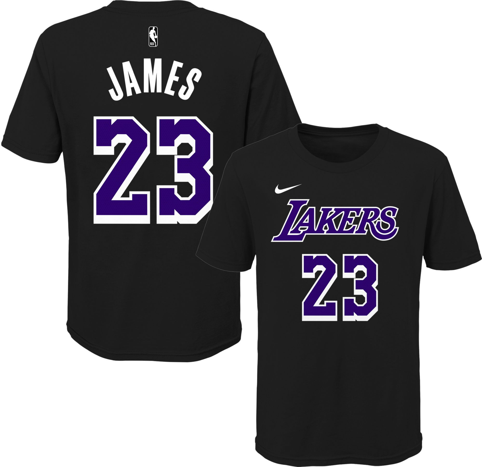 hot sale online 61395 27e6c Nike Youth Los Angeles Lakers LeBron James Dri-FIT Black T ...