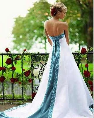 Turquoise and White Wedding Dresses
