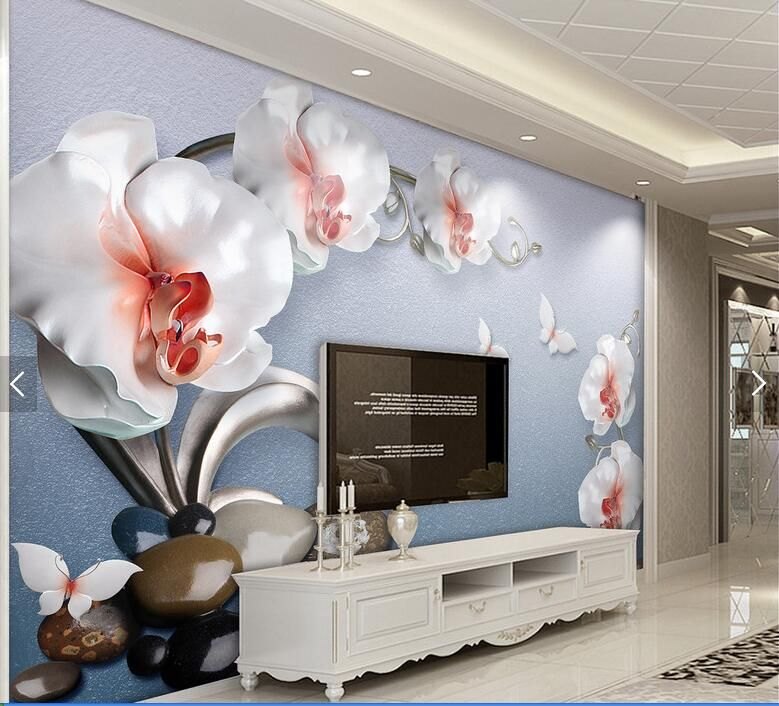 Find More Wallpapers Information About Custom Butterfly Orchid Floral 3d Wall Paper For Living Room Contac Room Wallpaper Wallpaper Living Room Paper Wallpaper