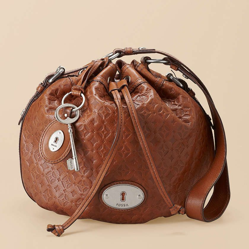 Fossil Maddox Drawstring Bag ~ embossed leather with signature ...