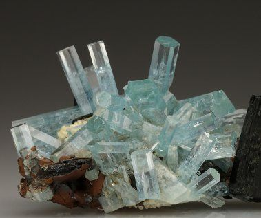 BERYL var AQUAMARINE with SCHORL TOURMALINE from miarolitic pegmatite at Erongo Mountains, Namibia. Crystal Classics Minerals