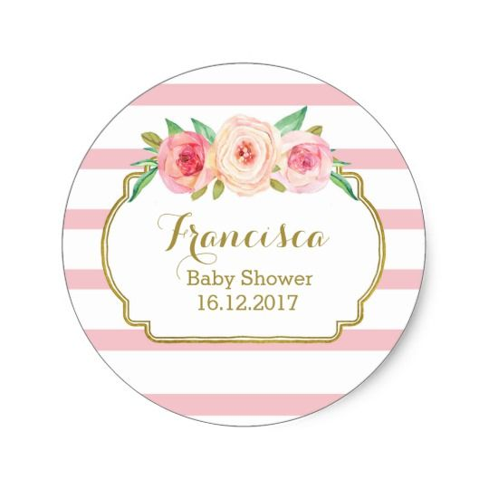 Rose Stripes Pink Floral Baby Shower Favor Tags Etiquetas Para