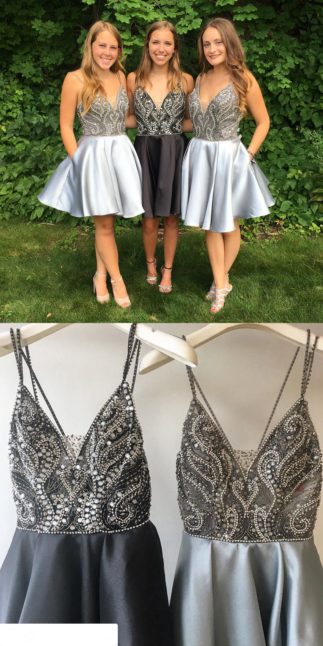 Black and Silver Short Homecoming Dresses