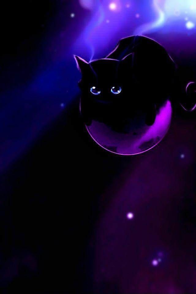 Cute Evil Aesthetic Google Search Black Cat Anime Cat Wallpaper Purple Cat