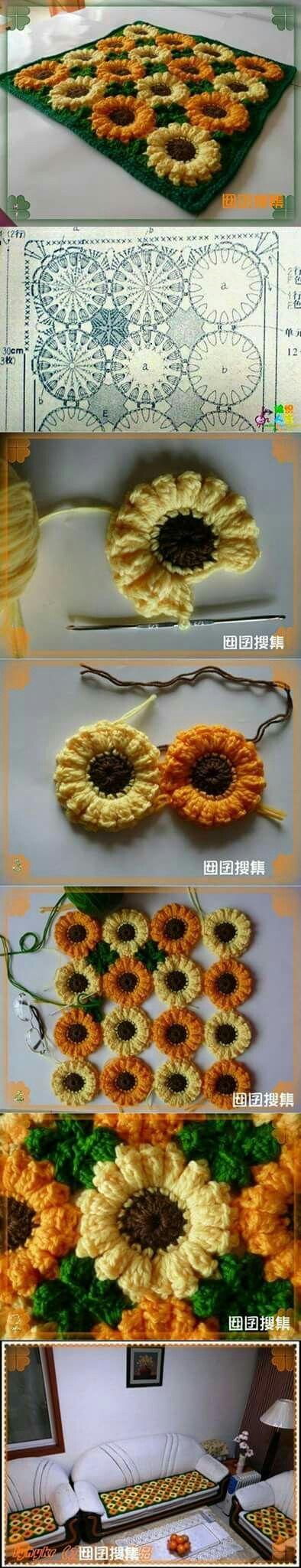 Patrón girasoles   Crochet   Pinterest   Girasoles, Patrones y Tejido