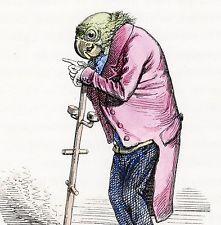 1842 GRANDVILLE Des Animaux Art Hand Colored Engraving Original...