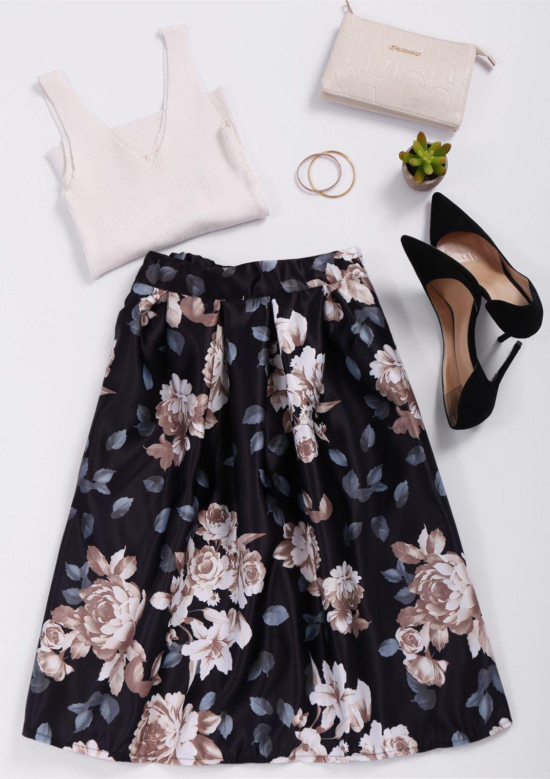 high waist floral print a line skirt black hair and