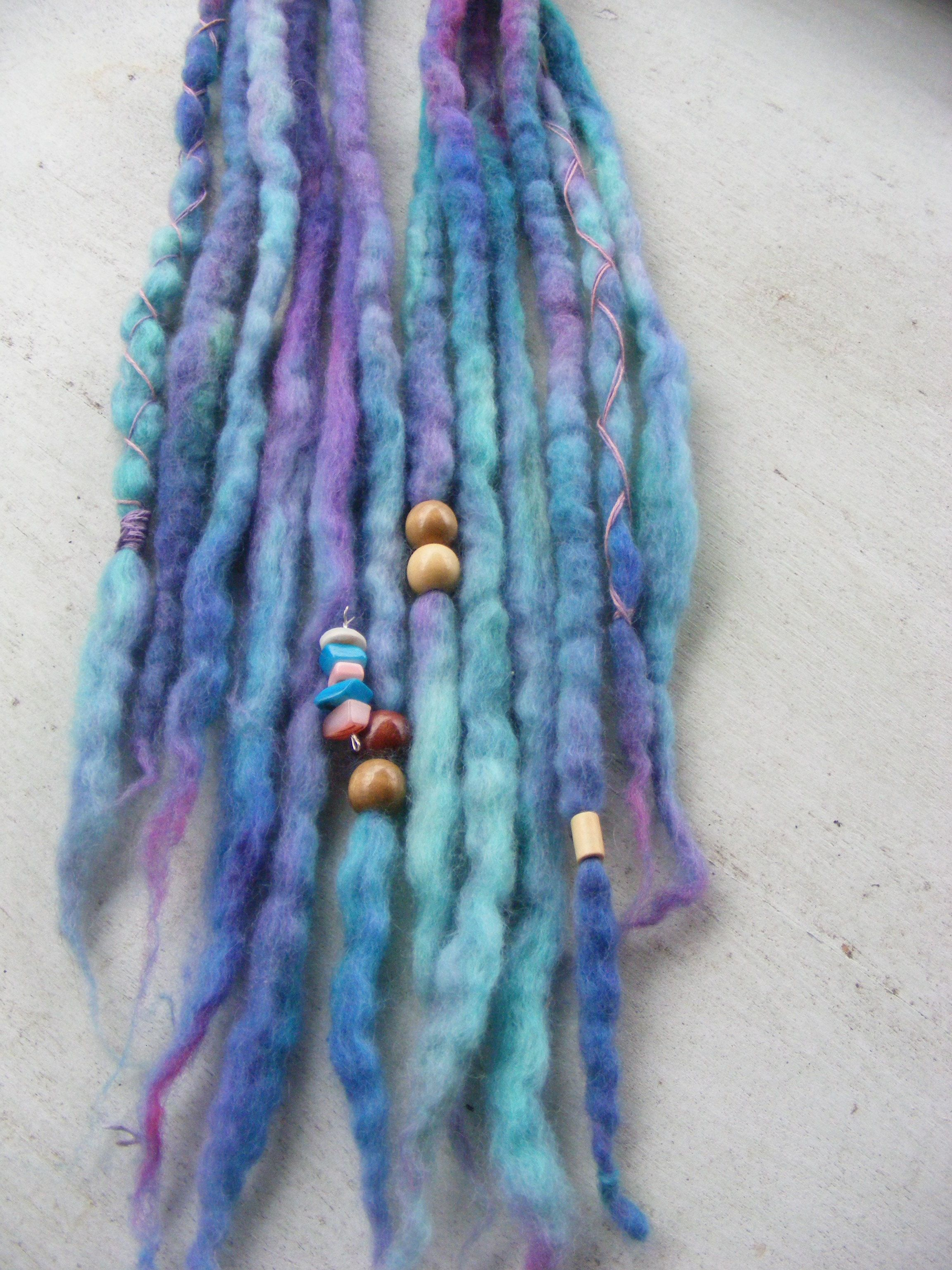 Hand dyed (tie dyed) wool dread lock extensions in shades ...